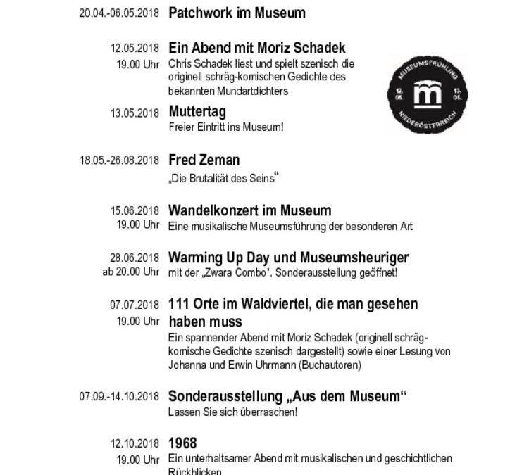 Museumsverein Waidhofen/Thaya Veranstaltungsprogramm 2018