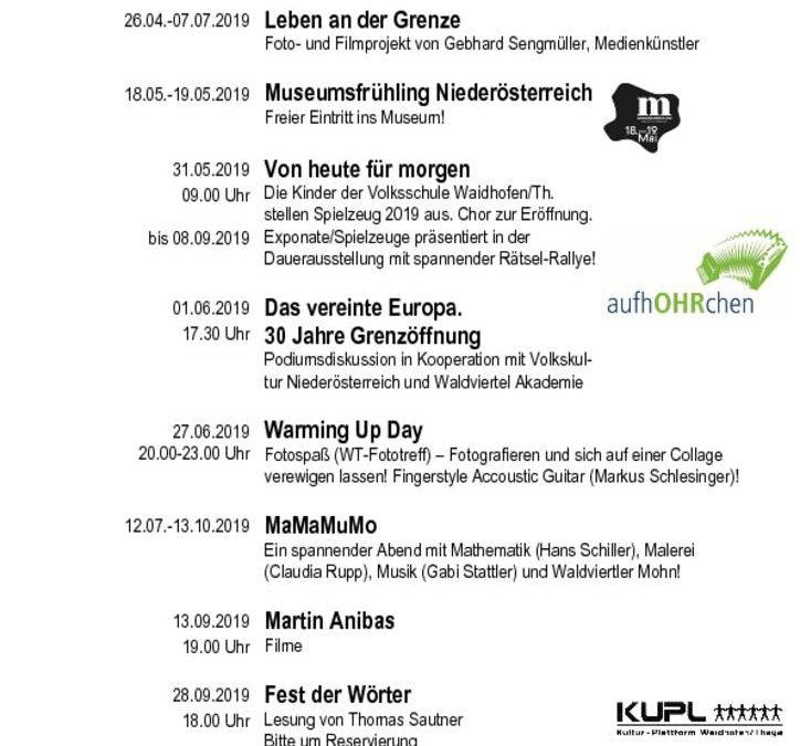 Veranstaltungsprogramm 2019 vom MUSEUMSVEREIN Waidhofen an der Thaya