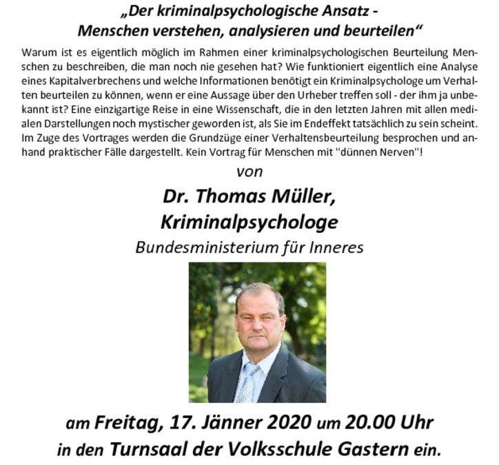 """Vortrag """"Der kriminalpsychologische Ansatz – Menschen verstehen, analysieren und beurteilen"""""""