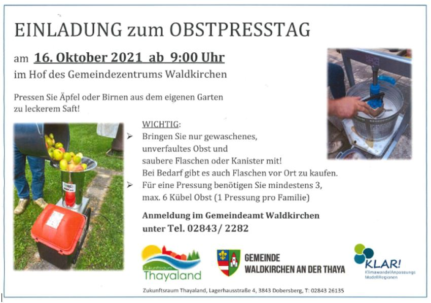 Obstpresstag in Waldkirchen